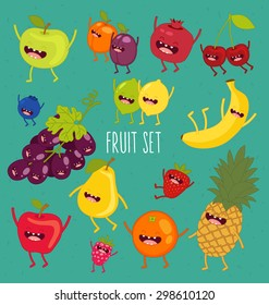 Apple, lemon, lime, pear, plum, apricot, blueberry, strawberry, pomegranate, grape, cherry, banana, orange, lime. Fruit set. Vector cartoon. Friends forever. Comic characters.