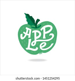 Apple Lettering- Hand-drawn vector cartoon flat illustration on an isolated white background. Great fruit print for labels, juice or jams packs.