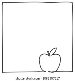 apple lineart frame -  continuous line drawing