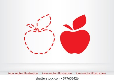 Apple logo icon vector EPS 10, abstract sign fruit flat design, illustration modern isolated badge for website or app - stock info graphics