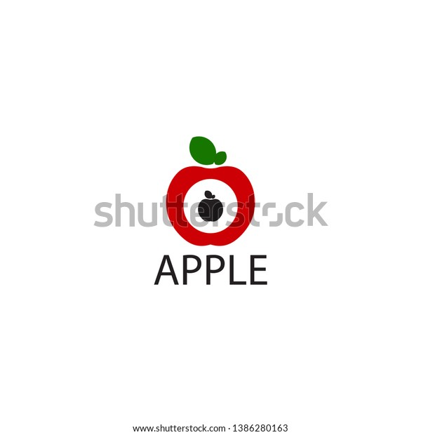 Apple Logo White Background Red Apples Stock Vector (Royalty