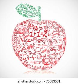 Apple made of school symbols