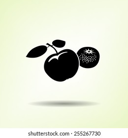 Apple and mandarin icon. Two fruits black silhouette with shadow on light green background. Flat design. Vector isolated