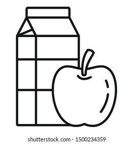 Apple milk pack icon. Outline apple milk pack vector icon for web design isolated on white background