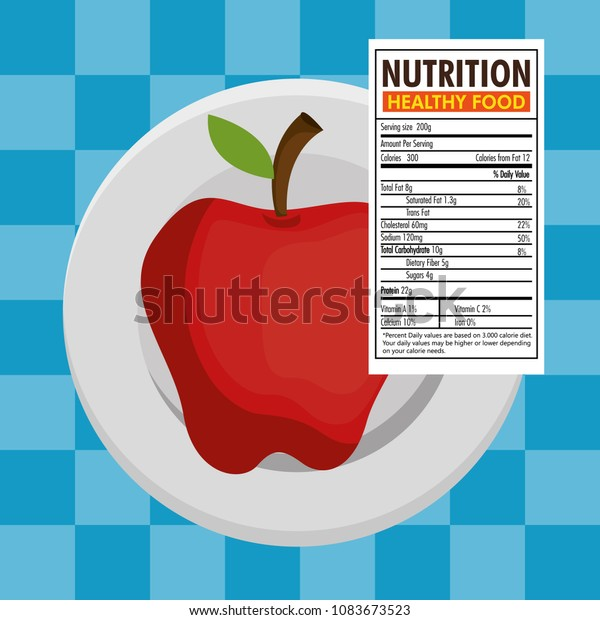 Apple Nutrition Facts Stock Vector Royalty Free 1083673523