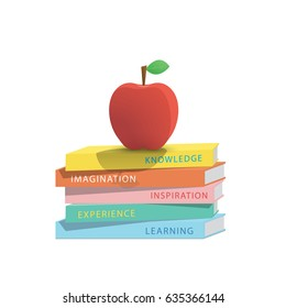 Apple on top stack books white background illustration vector. Education concept.