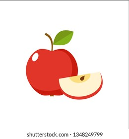 Apple on a white background isolated. Vector illustration