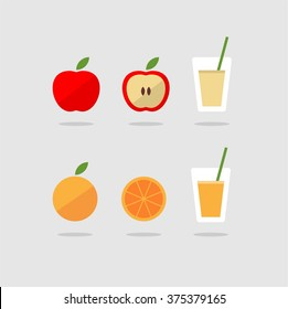 Apple and orange fruit juice and smoothie icon set