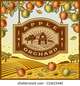 Apple Orchard. Editable vector illustration.