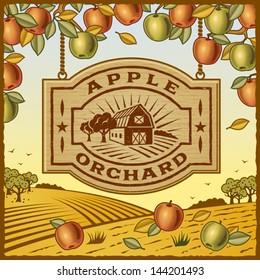 Apple Orchard. Fully editable vector.
