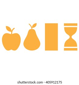 Apple, pear, hourglass, rectangle shapes. Silhouette female body types icon. Vector illustration.