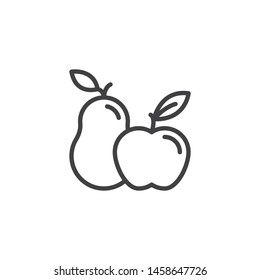 Apple and pear line icon. linear style sign for mobile concept and web design. Pear and apple with leaf outline vector icon. Symbol, logo illustration. Vector graphics