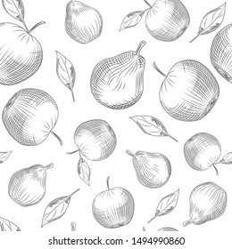 Apple and pear seamless pattern on white background. Apple tree leaf and pear backdrop. Hand drawn fruits wallpaper. Engraving vintage style. Vector illustration.
