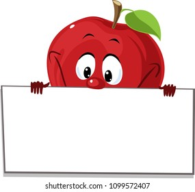 Apple peeking out from a white board sign - vector illustration