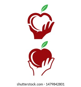 Apple Picking clip art logo. simple modern logo or icon. that can be used for tshirt printing, fruit shop or any other purpose.