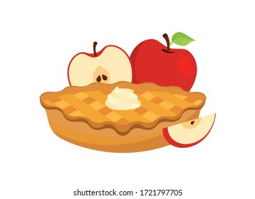 Apple Pie with apples icon vector. Cake with whipped cream vector. Dessert with apples vector. Classic american pie clip art. Apple Pie icon isolated on a white background