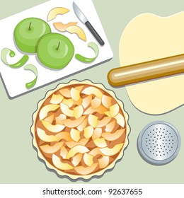 Apple Pie. Elevated view of preparation.