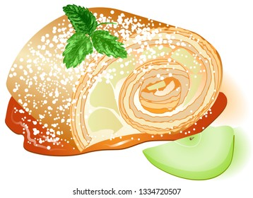 apple pie with apple isolated in white