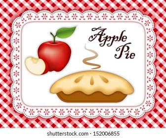 Apple Pie, ripe fruit, slice, white eyelet lace doily place mat, red gingham check background. Tasty sweet fresh baked dessert. See other pies in this series. EPS8 compatible.