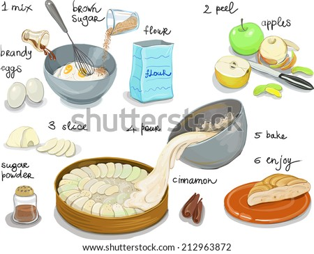 Apple Pie Step By Step Recipe Stock Vector Royalty Free 212963872