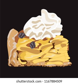 Apple pie with whipped cream on top on a dark grey background.