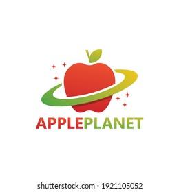 Apple planet logo template design