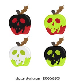 apple with poison. poison apple vector. magic illustration apple. shape skull coated red apple. halloween concept.