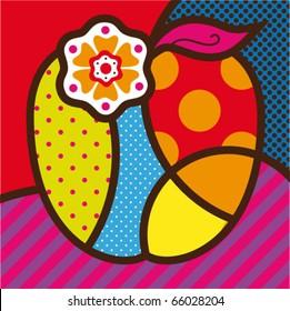 The apple. Pop-art modern vector illustration for design.