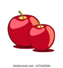 Apple Red yellow Couple Simple vector Pair isolated Nowruz Norooz Eid Fruit