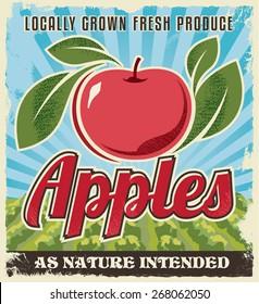 Apple retro vintage crate label design. Background texture vector illustration.