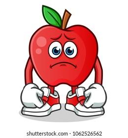 apple sad mascot vector cartoon illustration