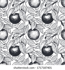 Apple seamless pattern. Hand drawn vector garden fruit illustration. Engraved style fruits. Retro botanical background.
