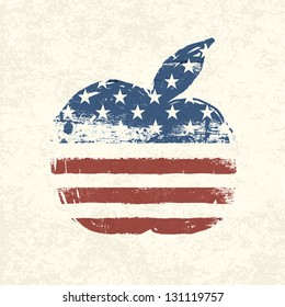 Apple shaped american flag. Vector, EPS10