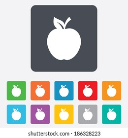 Apple sign icon. Fruit with leaf symbol. Rounded squares 11 buttons. Vector