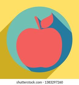 Apple sign illustration. Sunset orange icon with llapis lazuli shadow inside medium aquamarine circle with different goldenrod shadow at royal yellow background.