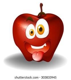 Apple with silly face illustration