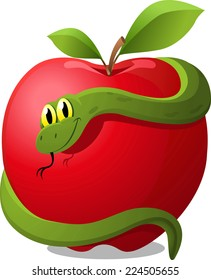 Apple with Snake Evil Temptation, with red apple and green snake vector illustration.