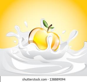 Apple splashing in milk, EPS 10
