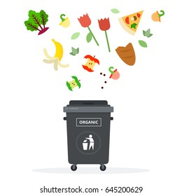 Apple sticks, bread slice, slice of pizza, banana peel and other food residues fly over the trash can vector flat material design isolated on white