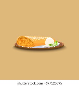 Apple strudel with ice cream on a tray. Vector illustration