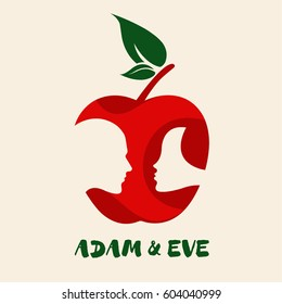 Apple symbol with Adam & Eve's portraits in negative space. Vector icon of female and male faces in a symbolic apple.