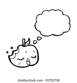 apple with thought bubble cartoon