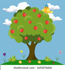 Apple tree with a bird on the background of nature