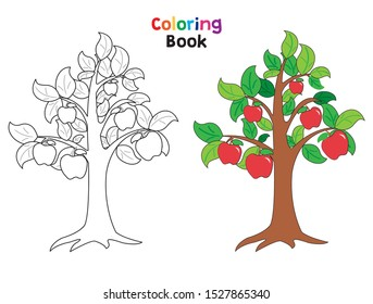 Apple tree coloring book page. For children's education