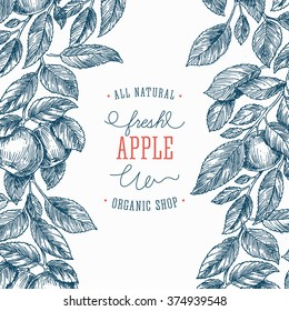 Apple tree design template. Apple leaf engraved illustration. Vector illustration