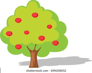 Apple tree flat design illustration isolated on white