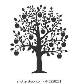 Apple tree. Flat vector illustration in black on white background. EPS 10