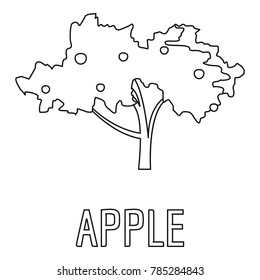 Apple tree icon. Outline illustration of apple vector icon for web