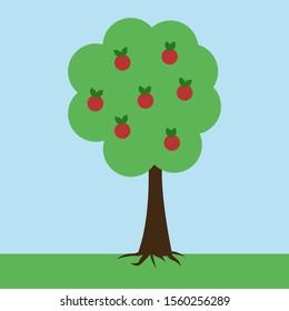 Apple tree, illustration, vector on white background.