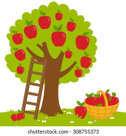 An apple tree, a ladder and a basket with harvested apples. Vector illustration